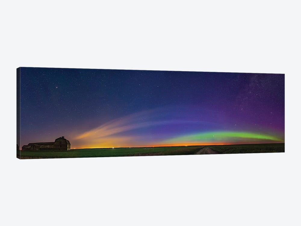 Panorama Of Aurora And Solstice Twilight At An Old Barn In Alberta, Canada. by Alan Dyer 1-piece Canvas Artwork