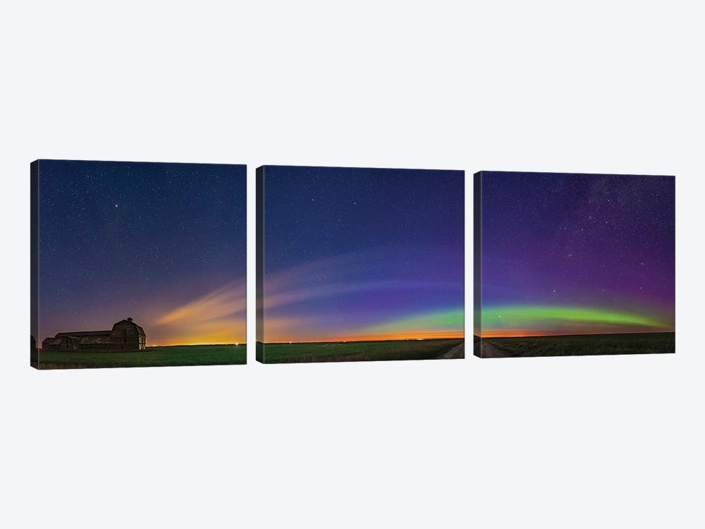 Panorama Of Aurora And Solstice Twilight At An Old Barn In Alberta, Canada. by Alan Dyer 3-piece Canvas Wall Art