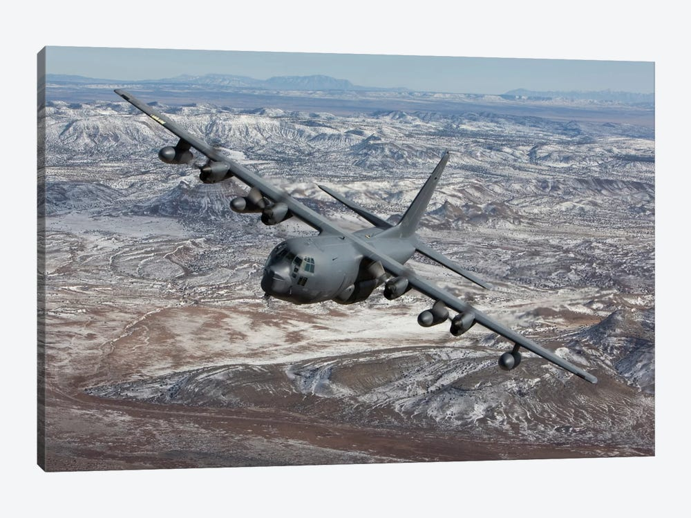 MC-130 Aircraft Maneuvers During A Training Mission Over New Mexico I by HIGH-G Productions 1-piece Canvas Print