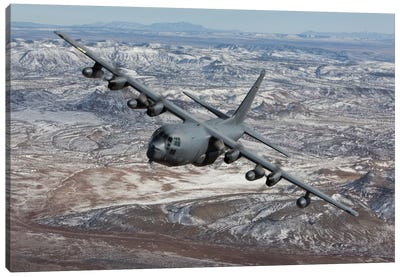 MC-130 Aircraft Maneuvers During A Training Mission Over New Mexico I Canvas Art Print