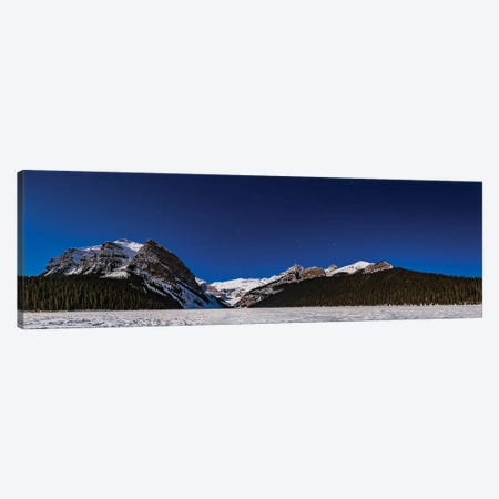 Panorama Of Lake Louise Under Winter Moonlight In Banff National Park, Canada. Canvas Print #TRK3090} by Alan Dyer Canvas Art