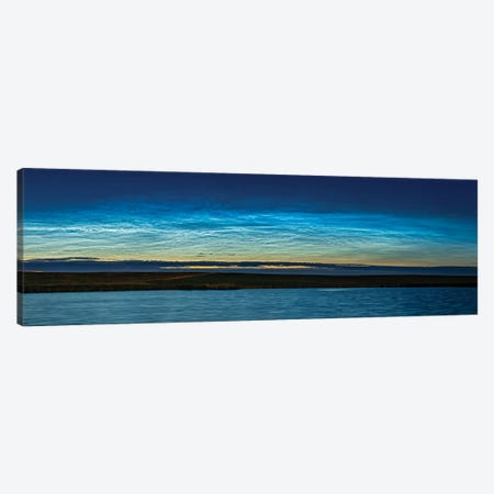 Panorama Of Noctilucent Clouds Across The Northern Horizon In Southern Alberta, Canada. Canvas Print #TRK3091} by Alan Dyer Canvas Wall Art