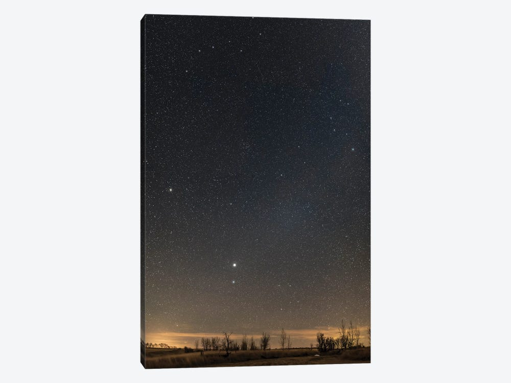 Panorama Of The Northern Spring Sky Showing Virgo, Corvus, Coma Berenices And Leo. by Alan Dyer 1-piece Canvas Print