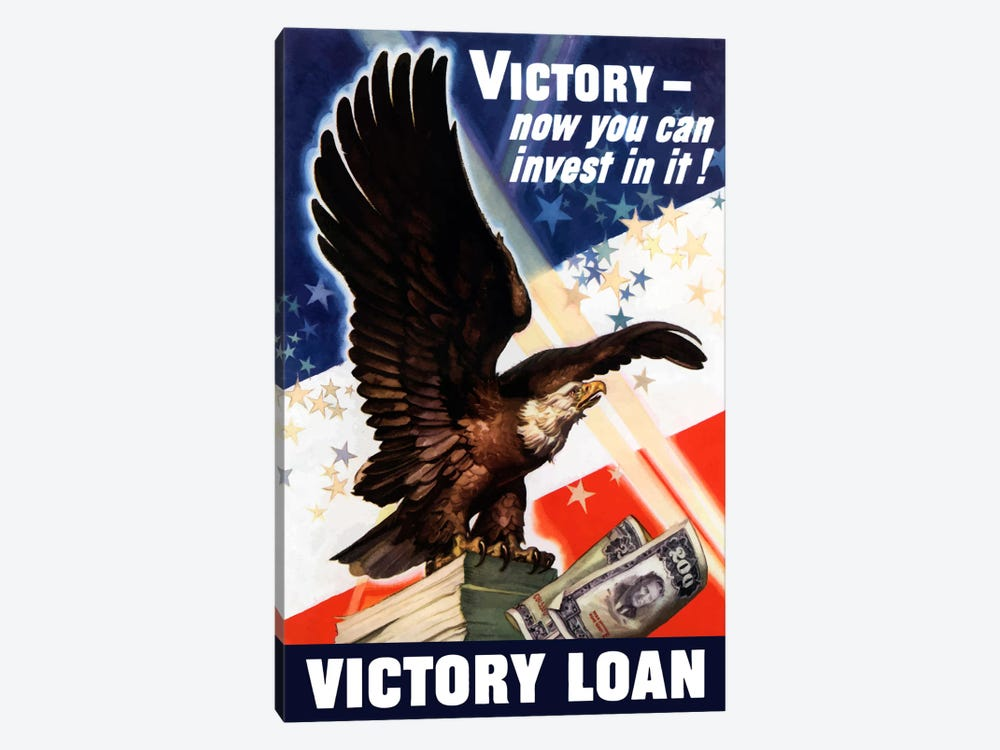 Now You Can Invest In Victory Vintage Wartime Poster by John Parrot 1-piece Canvas Artwork