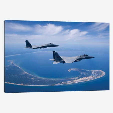 Two F-15 Eagles Fly High Over Cape Cod, Massachusetts Canvas Print #TRK310} by HIGH-G Productions Canvas Art Print