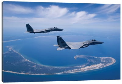Two F-15 Eagles Fly High Over Cape Cod, Massachusetts Canvas Art Print