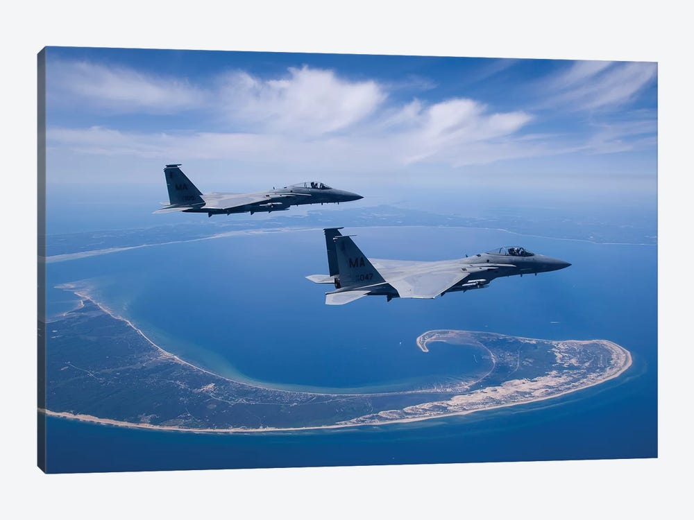 Two F-15 Eagles Fly High Over Cape Cod, Massachusetts by HIGH-G Productions 1-piece Canvas Wall Art