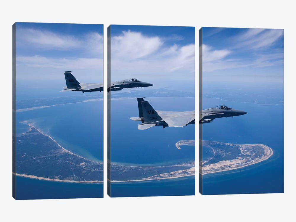 Two F-15 Eagles Fly High Over Cape Cod, Massachusetts 3-piece Canvas Art