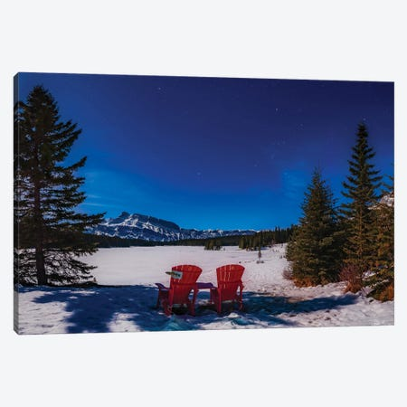 Red Chairs Under A Moonlit Winter Sky At Two Jack Lake, Banff National Park, Canada. Canvas Print #TRK3113} by Alan Dyer Canvas Art Print