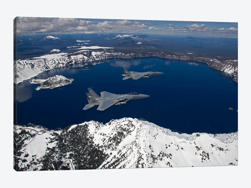 Two F-15 Eagles Fly Over Crater Lake In Central Oregon by HIGH-G Productions 1-piece Canvas Print