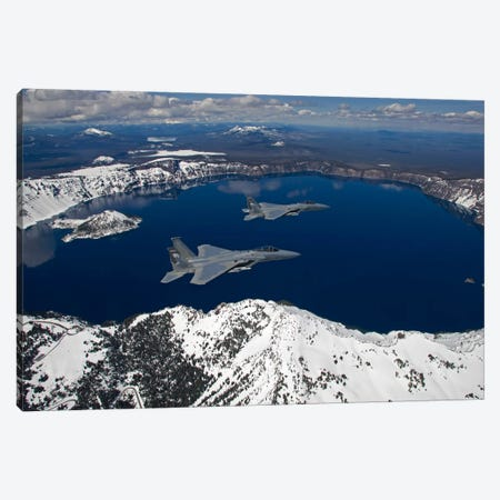 Two F-15 Eagles Fly Over Crater Lake In Central Oregon Canvas Print #TRK311} by HIGH-G Productions Canvas Print