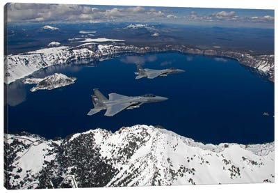 Two F-15 Eagles Fly Over Crater Lake In Central Oregon Canvas Art Print