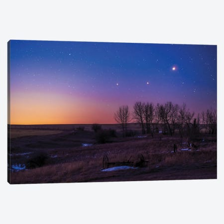 Saturn, Mars And Jupiter In Conjunction In The Dawn Twilight, Alberta, Canada. Canvas Print #TRK3121} by Alan Dyer Canvas Wall Art