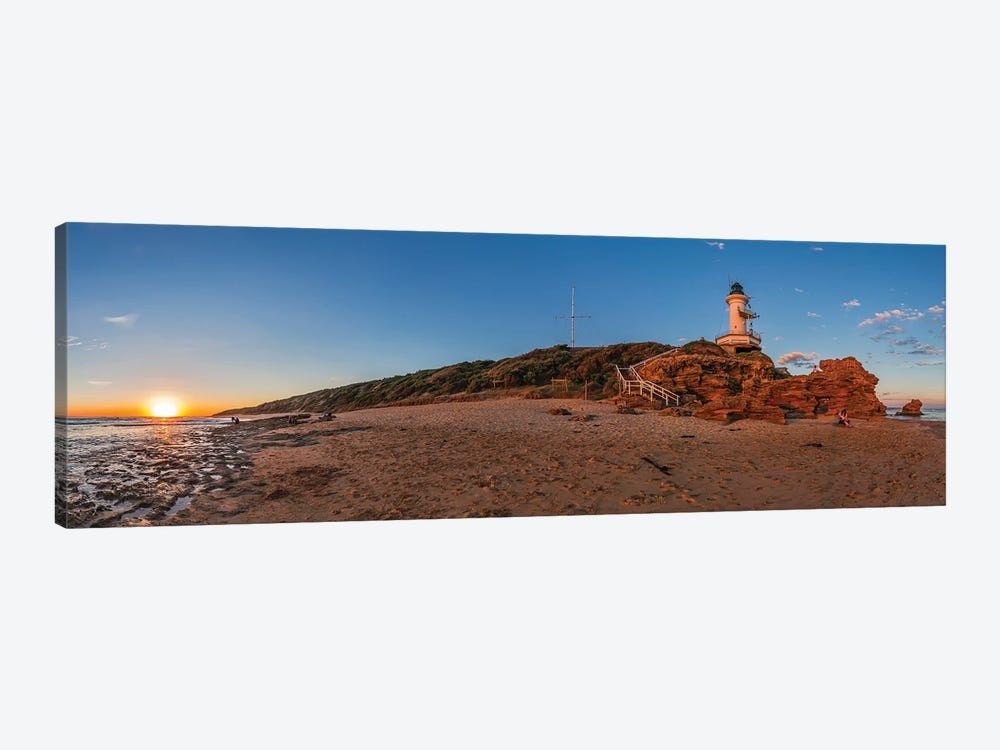 Setting Sun At Point Lonsdale Lighthouse Near Queenscliff, Victoria, Australia. by Alan Dyer 1-piece Canvas Artwork