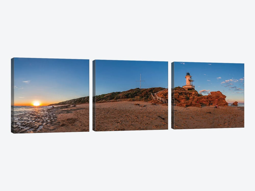 Setting Sun At Point Lonsdale Lighthouse Near Queenscliff, Victoria, Australia. by Alan Dyer 3-piece Canvas Art