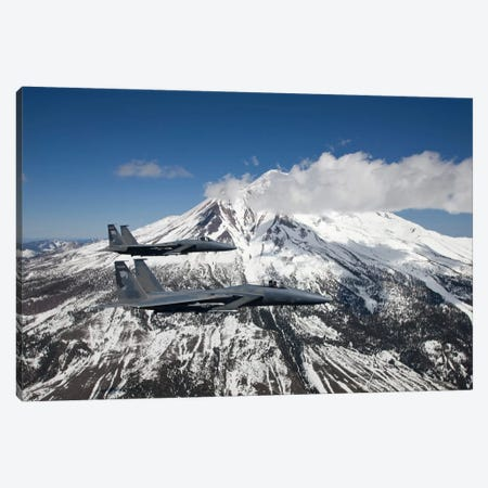Two F-15 Eagles Fly Past Snow Capped Peaks In Central Oregon Canvas Print #TRK312} by HIGH-G Productions Canvas Print