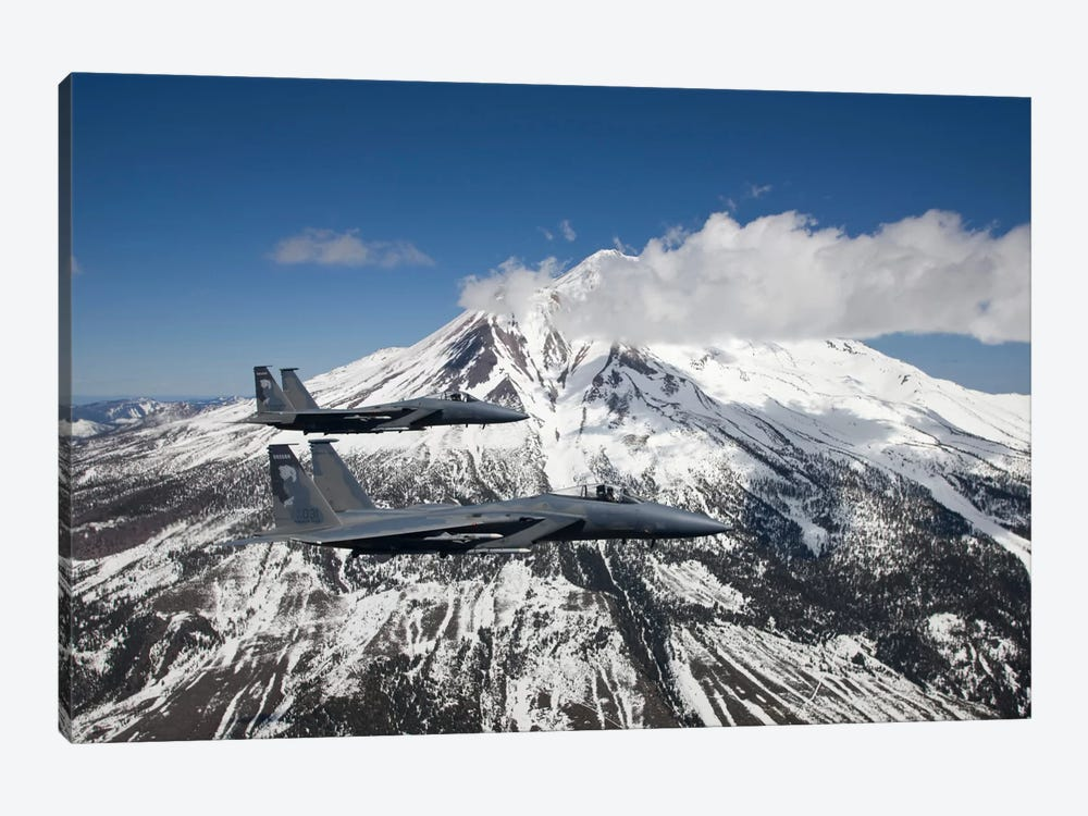 Two F-15 Eagles Fly Past Snow Capped Peaks In Central Oregon by HIGH-G Productions 1-piece Canvas Wall Art