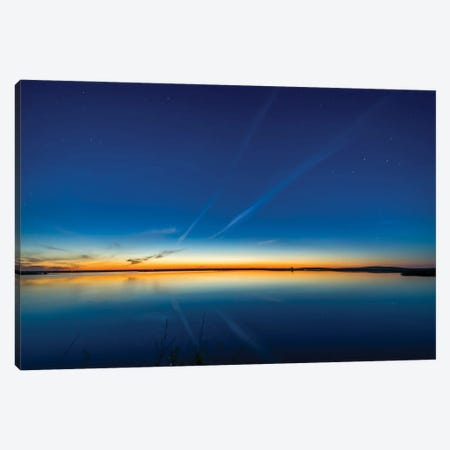Summer Solstice Twilight At Crawling Lake In Southern Alberta, Canada. Canvas Print #TRK3136} by Alan Dyer Canvas Artwork