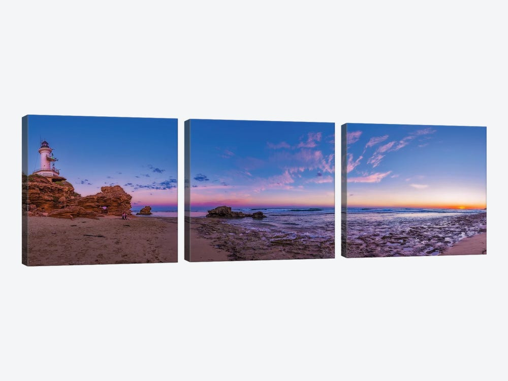 Sunset At Point Lonsdale Lighthouse Near Queenscliff, Victoria, Australia. by Alan Dyer 3-piece Canvas Artwork