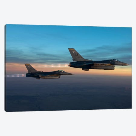 Two F-16s Fly In Formation Over Arizona Before Sunset Canvas Print #TRK313} by HIGH-G Productions Canvas Print
