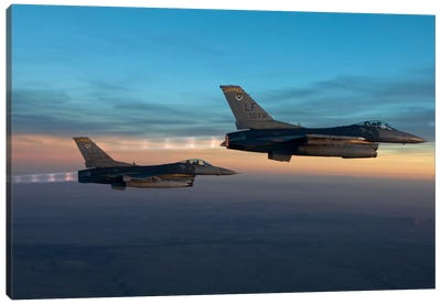 Two F-16s Fly In Formation Over Arizona Before Sunset Canvas Art Print
