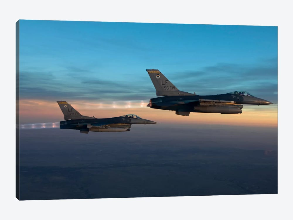 Two F-16s Fly In Formation Over Arizona Before Sunset by HIGH-G Productions 1-piece Canvas Print