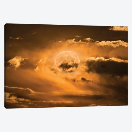 Supermoon Rising In The Clouds. Canvas Print #TRK3143} by Alan Dyer Canvas Art
