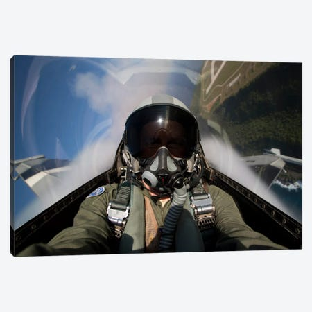 View From The Cockpit Of An F-16 Block 30 Pulling G's Canvas Print #TRK314} by HIGH-G Productions Canvas Wall Art