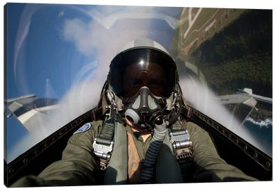 View From The Cockpit Of An F-16 Block 30 Pulling G's Canvas Art Print