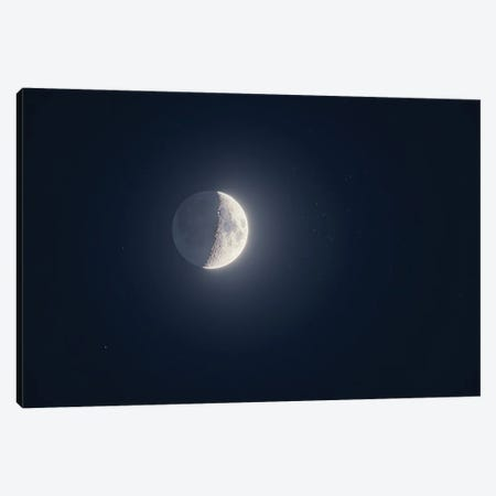 The 5-Day-Old Waxing Crescent Moon Near The Beehive Star Cluster. Canvas Print #TRK3156} by Alan Dyer Canvas Art