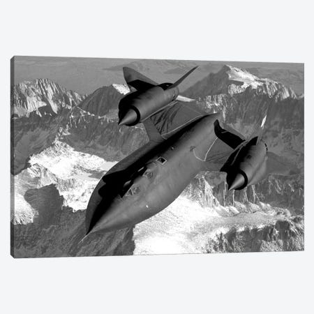 A SR-71B Blackbird Flying Across The Sierra Nevada Mountains Canvas Print #TRK315} by John Parrot Canvas Art