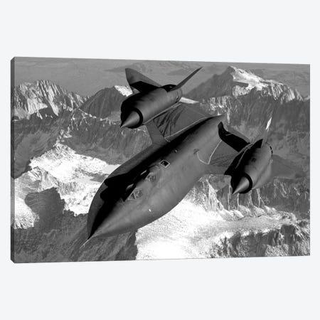 A SR-71B Blackbird Flying Across The Sierra Nevada Mountains Canvas Print #TRK315} by Stocktrek Images Canvas Art
