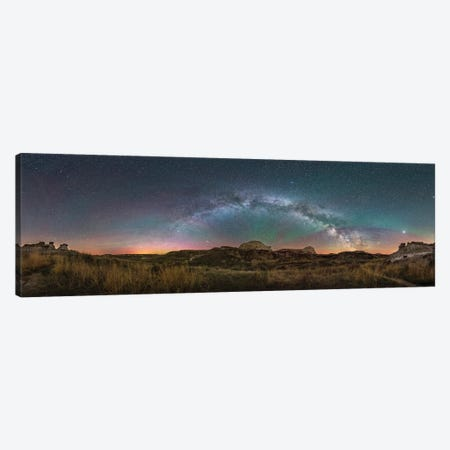 The Arch Of The Northern Spring Milky Way Across The Sky At Dinosaur Provincial Park, Alberta, Canada. Canvas Print #TRK3166} by Alan Dyer Canvas Print