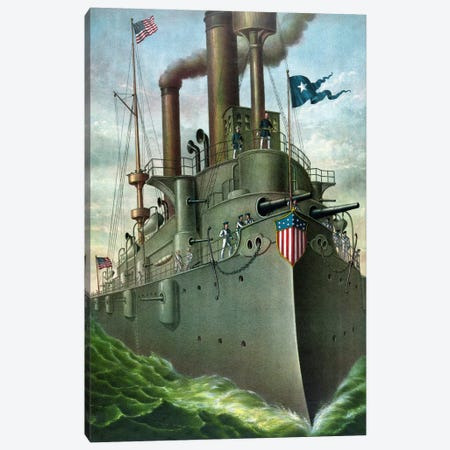 American History Print Of Admiral George Dewey Standing On His Flagship Canvas Print #TRK316} by John Parrot Canvas Art