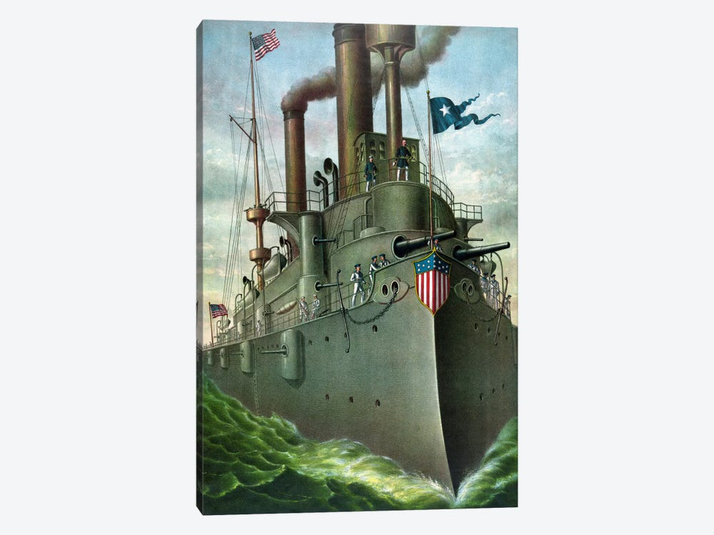 American History Print Of Admiral George Dewey Standing On His Flagship by John Parrot 1-piece Canvas Art