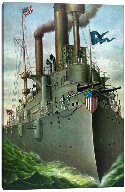 American History Print Of Admiral George Dewey Standing On His Flagship Canvas Art Print