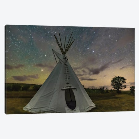 The Big Dipper And Arcturus Over A Single Tipi In Saskatchewan, Canada. Canvas Print #TRK3176} by Alan Dyer Canvas Art