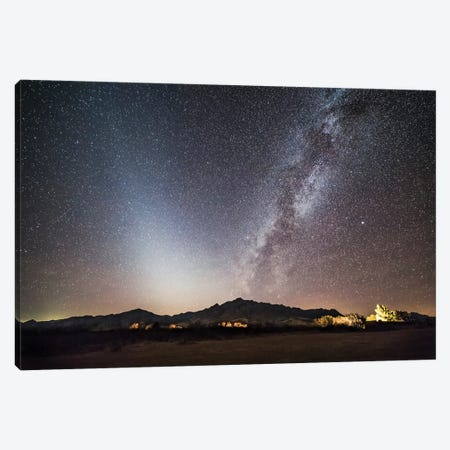 The Bright Milky Way With Zodiacal Light And Interstellar Dust Above Mountains In Arizona. Canvas Print #TRK3179} by Alan Dyer Canvas Print