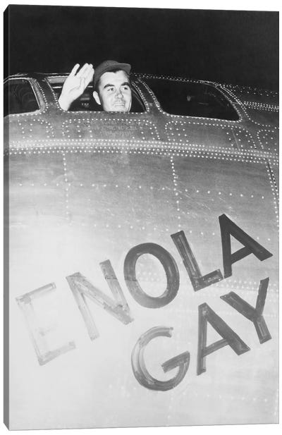 Colonel Paul Tibbets Waving From The Cockpit Of The Enola Gay Canvas Art Print
