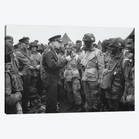 General Dwight D. Eisenhower Talking With Soldiers Of The 101st Airborne Division Canvas Print #TRK319} by John Parrot Canvas Art Print