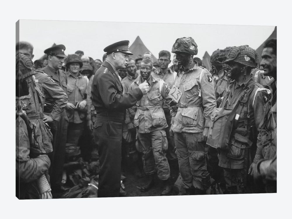 General Dwight D. Eisenhower Talking With Soldiers Of The 101st Airborne Division by John Parrot 1-piece Canvas Art Print