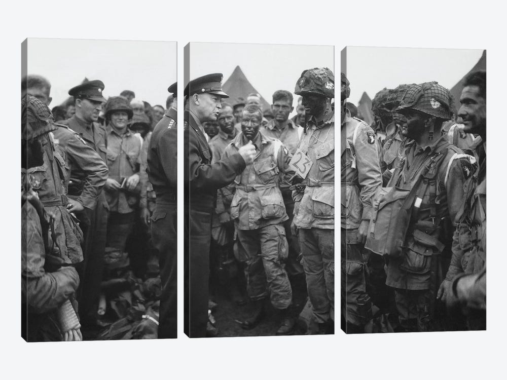 General Dwight D. Eisenhower Talking With Soldiers Of The 101st Airborne Division by John Parrot 3-piece Art Print