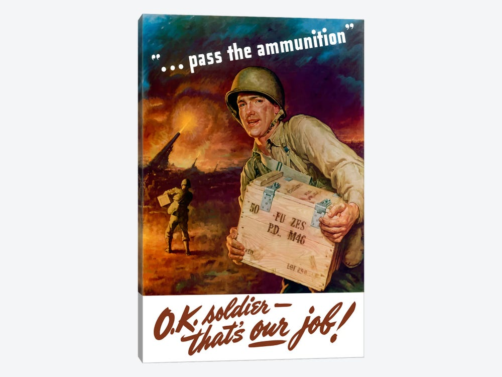 Pass The Ammunition Vintage Wartime Poster by John Parrot 1-piece Canvas Print