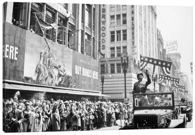 General George Patton During A Ticker Tape Parade Canvas Art Print