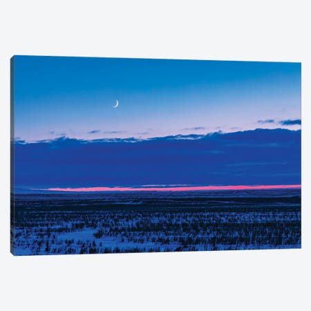 The Low Waxing Crescent Moon In The Evening Sky. Canvas Print #TRK3212} by Alan Dyer Canvas Wall Art