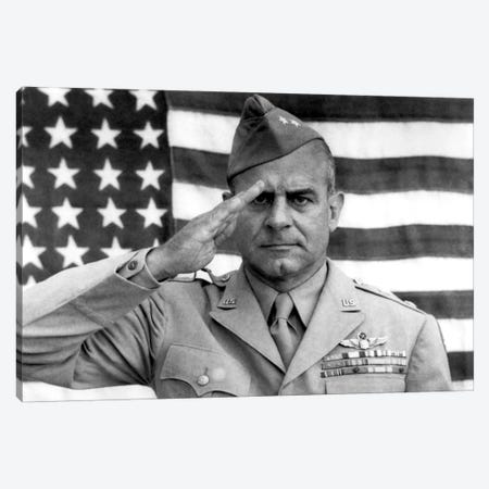General James Jimmy Doolittle Saluting With The American Flag Canvas Print #TRK321} by John Parrot Canvas Art