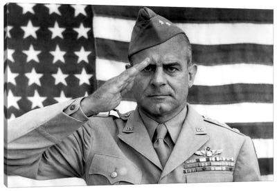 General James Jimmy Doolittle Saluting With The American Flag Canvas Art Print