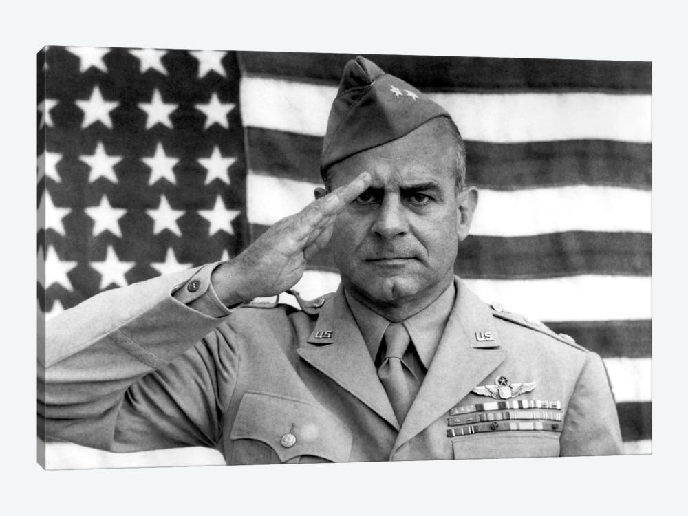 General James Jimmy Doolittle Saluting With The American Flag by John Parrot 1-piece Canvas Wall Art