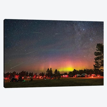The Perseid Meteor Shower And An Aurora Over The Saskatchewan Summer Star Party, Canada Canvas Print #TRK3233} by Alan Dyer Canvas Art