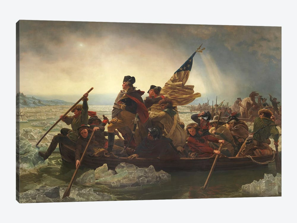 Painting Of George Washington Crossing The Delaware by John Parrot 1-piece Canvas Wall Art